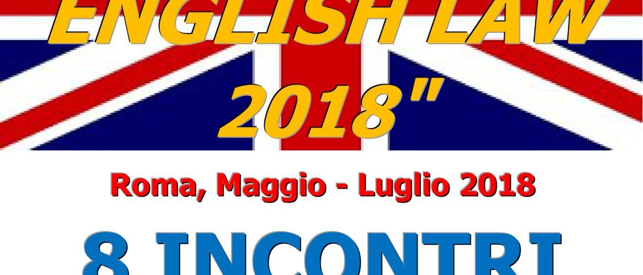 "XVI CORSO DI ""PRINCIPLES OF ENGLISH LAW 2018″"